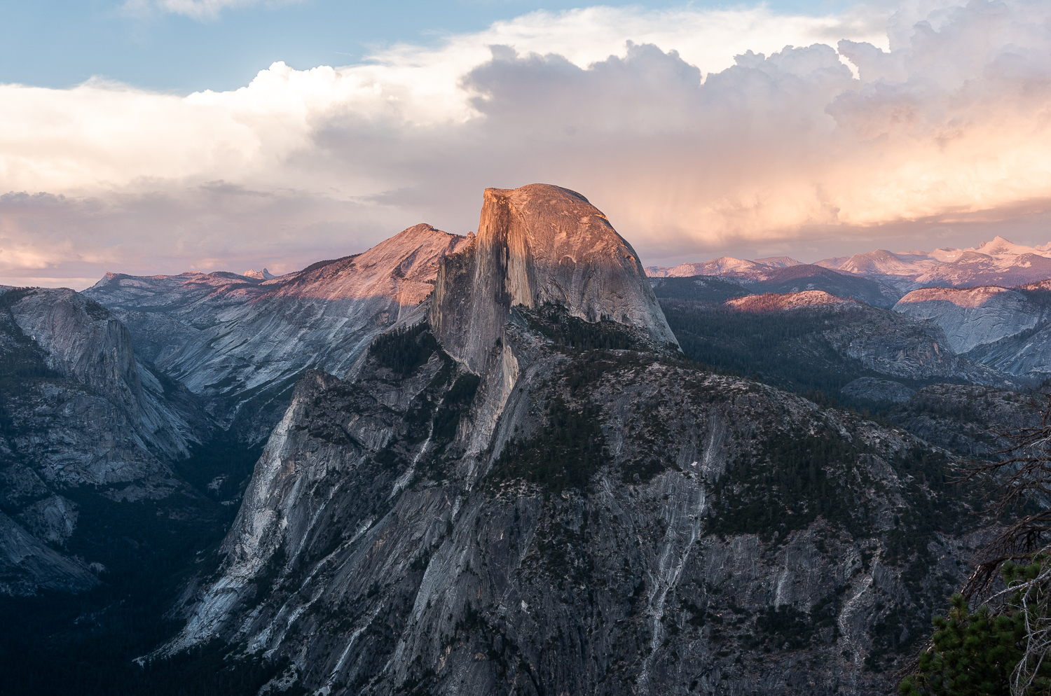 Sunset on Half Dome in Yosemite National Park. Pink Sunset